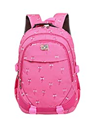 Bysn Cute Cat Printing School Backpacks For Boys Girls Bookbag For Kids Student Backpack Rose