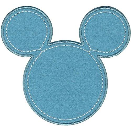 y Maus Mickey Silhouette Bügelbild Aufnäher, blau (Maus-silhouette)