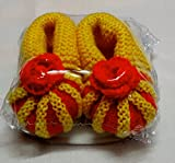 RL woollen baby booties-red and yellow(0...