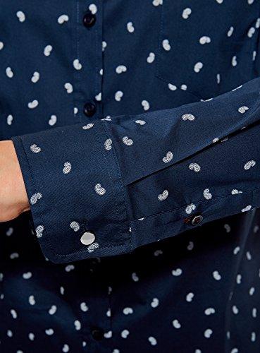 oodji Ultra Damen Hemd Basic mit Brusttasche Blau (7930E)