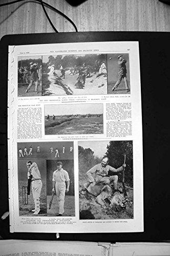 Stampa Antica di Principe Aperto Arthur Lion Signore Derby Indias Caddies1910 di Bramshot di Golf