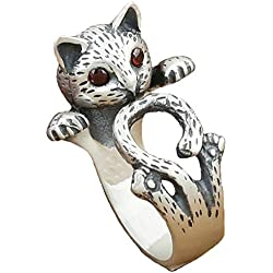 Anday Retro Punk Tíbet Plata Gato ajustable anillo con rubí ojos imitación