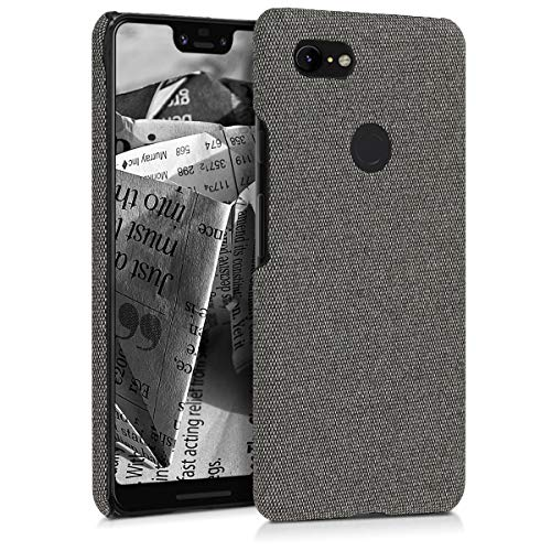 kwmobile Hardcase Hülle für Google Pixel 3 XL - Backcover Case Schutzhülle Cover in Canvas Design Grau