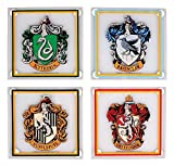 Harry Potter Glass Coaster 4-Pack All Houses Half Moon Bicchieri Boccali