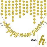 Howaf Silvester 2019 Party Deko Set, Riese Gold Happy New Year Banner und Schimmer Runde Papier Girlande Kreis Punkte Hängend Dekorationen Neujahr Silvesterdeko Neujahrsdeko