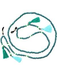 Baosity Cordon à Lunettes de Soleil Mélange de Perles Réglable - Bleu Gdul3