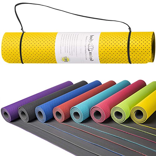 Goods & Gadgets Body & Mind Yogamatte - umweltfreundliche, Hypo-allergene Yoga TPE-Matte - extrem Rutschfest, weich und schadstoff-frei - 183 x 61 x 0,5cm inkl. Trageschlaufen - Gelb