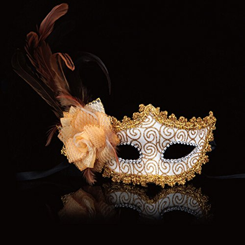 Rose Blumen mit Feder Halloween Dance Party Princess Venedig Maske Golden (Halloween Retribution)