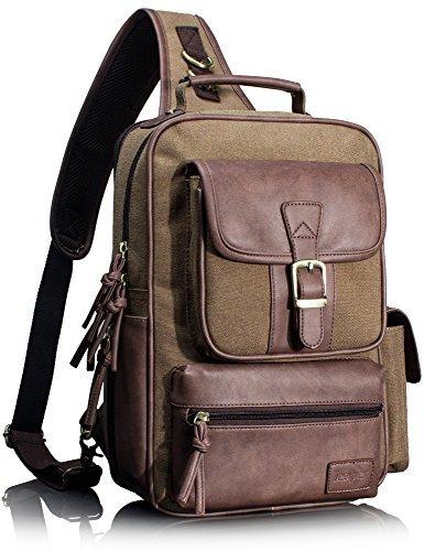 Leaper Retro Mensajero Cross Body Bolso Impermeable Sling Bolsa al aire  libre Daypack para hombres y b8fb6ecd334d4