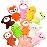 Biging 10 Pieces Finger Puppets Soft Cloth Animal Doll Hand Toys Plush Toys For Baby Kid