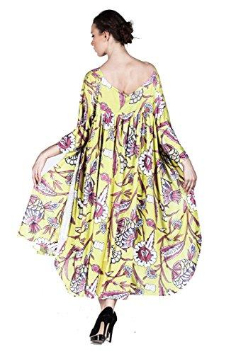 Hüseyin Kücük - Robe - Kimono - Manches 3/4 - Femme multicolore Mehrfarbig 36 Jaune
