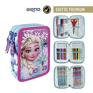 Disney Frozen Plumier Relleno con Giotto Premium, Color Blanco, 19 cm (Artesanía Cerdá 2700000192)