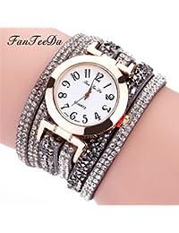 Reloj Mujer, Longra ❤️ Las mujeres de color romantico cuero del Rhinestone de cuarzo analógico relojes de pulsera (G-Gris)