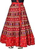 Modern Kart Women's Cotton Wrap Around Skirt (MKSKT025, Red, XL)