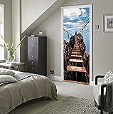 TIANTAI Nachahmung 3D Tür Aufkleber Hängebrücke Schlafzimmer Tür Aufkleber Wandaufkleber Wasserdicht Selbstklebend