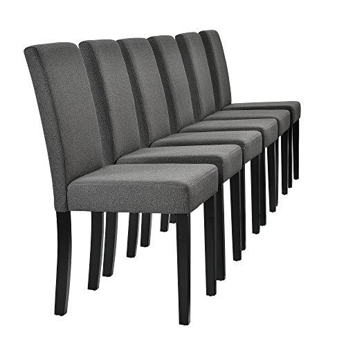 [en.casa] Edler Esszimmerstuhl im 6er-Set - 90 x 42cm dunkelgrau Designer-Stühle