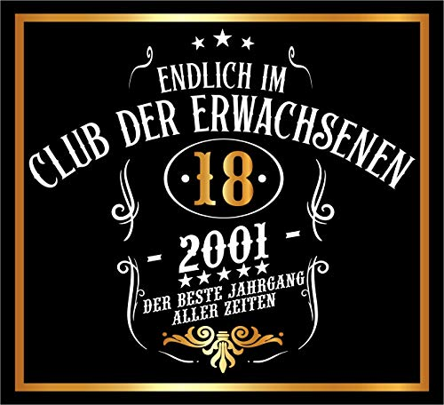 RAHMENLOS 3 St. Aufkleber Original Design: Selbstklebendes Flaschen-Etikett zum 18. Geburtstag: Mitglied im Club der Erwachsenen (Aufkleber Flasche)