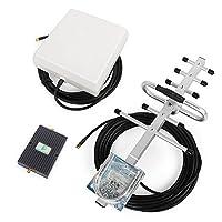 Proutone - 65dB 900/2100MHz Amplificador de Señal kit con Panel Antena interior y GSM Yagi Antena exterior con Cable de 10m para Uso de Edificios, Casa ,Oficina y Ranchos