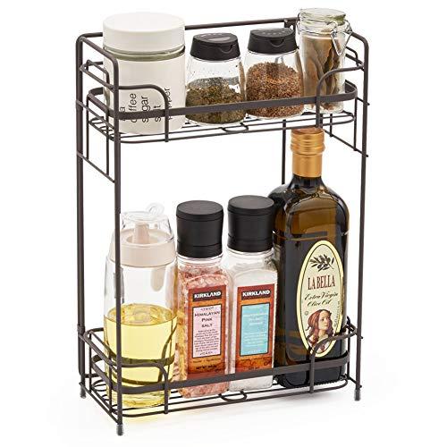 Rustikaler Schrank (EZOWare Gewürzregal mit 2 Etagen, Regal Aufbewahrung Organizer für Küche Bad Kosmetik - Rustikales Braun)