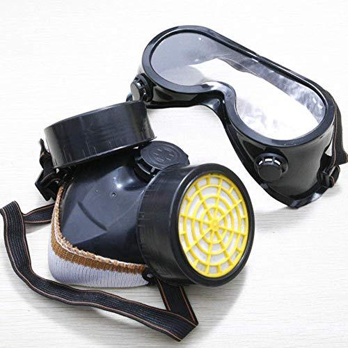 Anti-polvere Spray Gas Respiratore Maschera, Anti Pittura Occhiali, Set Protezione Lavoro Maschera con Dual Gas Filtri Pronto Aderente (Nero) - Nero