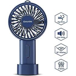 SAWAKE Ventilateur Portatif, Mini Électrique Ventilateur à Main avec 3 Vitesses Réglables, Ventilateur de Poche Rechargeable USB, Rotatif 15 degrés, Hand Fan Convient à Dortoir, Bureau, Voyage, etc