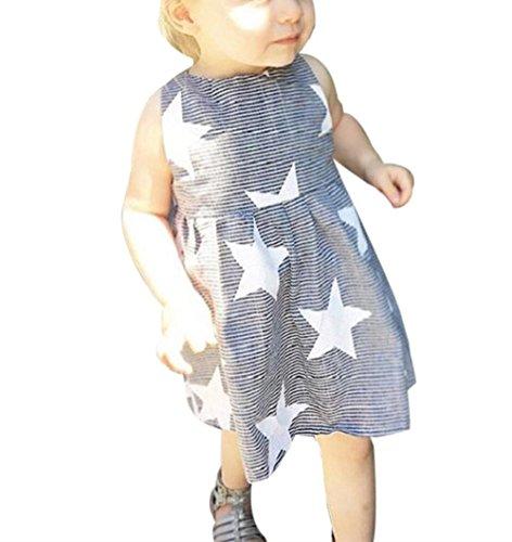 Kleinkind Sommer Ärmellos Streifen Party Kleid (100CM, Grau) (Streifen-mode-polo-kleid)