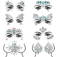 Czemo® Face Gems 8 pack Face Jewels for Festivals Mermaid Rave Festival Glitter, Rhinestone Face & Body Glitter Stick on Bindi Temporary Stickers (Pattern 1)