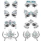 Czemo Gesicht Edelsteine 8 Stück Gesicht Schmucksteine Juwelen Sticker,Aufkleber Gesicht,Schmucksteine Selbstklebend Gesicht,Bindi Adhesive Strass Glitzer Gesicht Tattoo (Pattern 1)