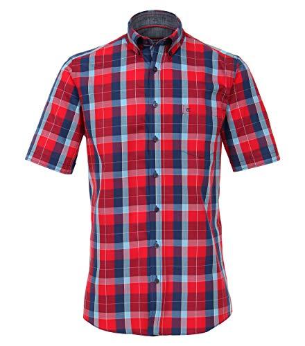 Dobby-hemd (CASAMODA Herren Dobby Hemd Halbarm kariert Comfort Fit)