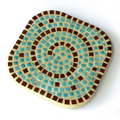 Mosaic Craft Kit,a pair of Coaster, Turquoise blue