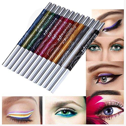 Amlaiworld Schmink Pinsel 12 Farben Augenbraue Glitter Schatten Lip EyeLiner Stift Stift Kosmetik Make-up Set Kit