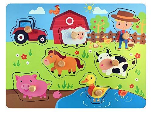 Pucts Steckpuzzle Holz Bauernhof - Hochwertige Holzpuzzle fur Kinder ab 1 Jahr