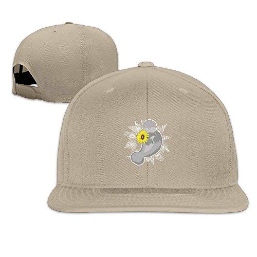 Regii585 Sunny Flower Manatee Washed Unisex Adjustable Flat Bill Visor Dad Hat