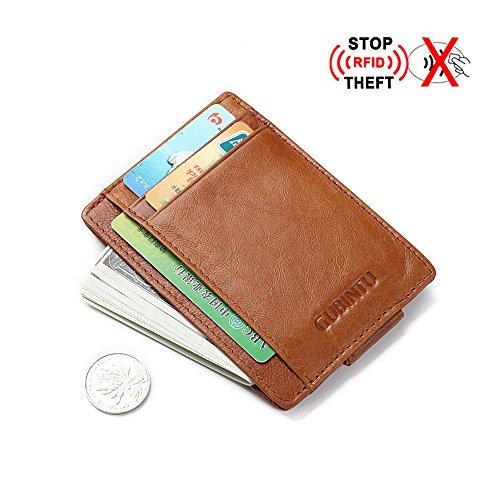 Día del padre gifts-genuine piel RFID bloqueo Monedero tipo cartera bolsillo minimalista–Tarjeta...