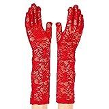 Guanti di pizzo protezione UV estate delle donne di moda 40cm, guanti da sera da sera da sposa festaioli lunghi da braccio elegante della signora, Rosso