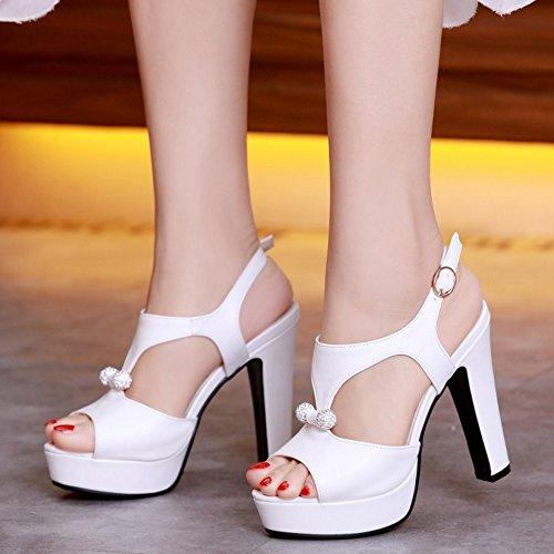TAOFFEN Femmes Peep Toe Sandales Soiree Mode Plateforme Talons Hauts Slingback Chaussures De Boucle Blanc