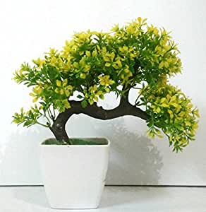 DecoratingLives Bonsai Wild Plant Artificial Plant with Pot(Yellow)