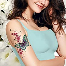 TAFLY Large Butterfly Flower Temporary Tattoos-Long Lasting Waterproof Body Art Transfer Tattoos Sticker 3 Sheets