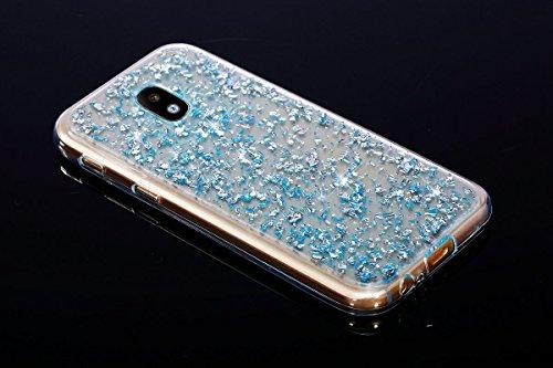 Galaxy J5 2017 Hülle,Galaxy J5 2017 Silikon Hülle,JAWSEU Schutzhülle Samsung Galaxy J5 2017 Hülle [Glitzer Strass Ring Stand Holder], Luxus Glitzer Bling Diamant Strass Spiegel TPU Case für Samsung Ga Bling Blau