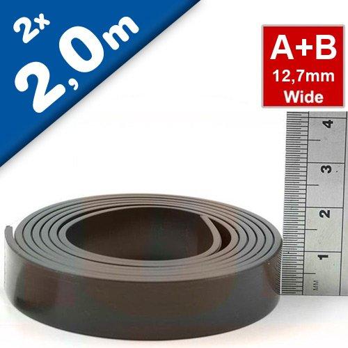 Magnetband Magnetstreifen selbstklebend mit Premium-Kleber - 1,5mm x 12,7mm jeweils 2m - Set aus TYP A und B
