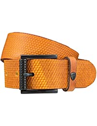 STRELLSON ceinture hommes ceinture en cuir jaune
