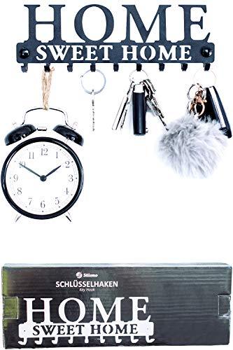 Stilemo Schlüsselbrett zum ordentlichen Aufhängen - Sparen Sie Zeit mit dem Schlüsselboard Home Sweet Home - Hakenleiste Schlüssel Wand in edlem Vintage Schwarz - 9 Haken - 25 x 8.5cm