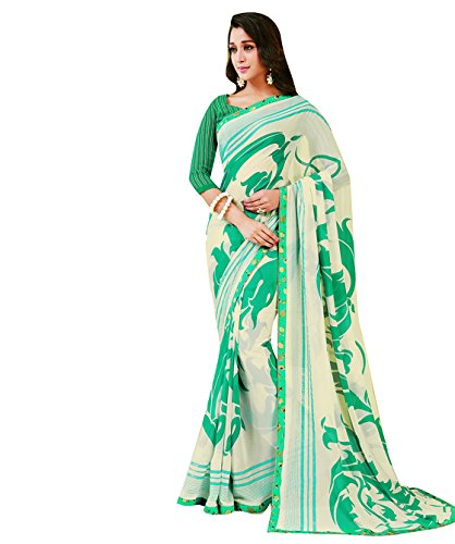 Subhash Sarees Cream Color Georgette Printed Saree  available at amazon for Rs.1016