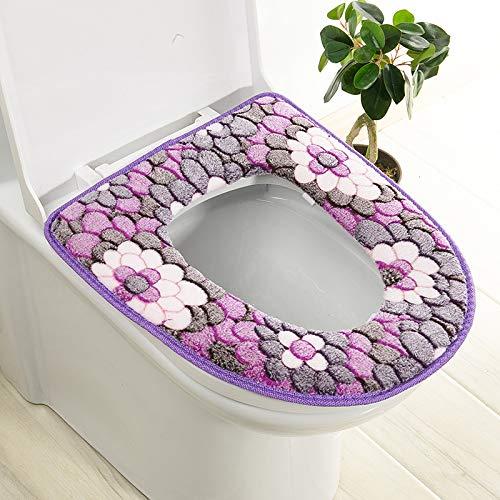 Trap-o-ring (BAOZIV587 2er-Pack WC-Sitzkissen Haushalt Toilettendeckel Aufkleber WC-Trap Wasserfest Universal-Toilettendeckel Sommer, Lila Großer Blumenkleber)