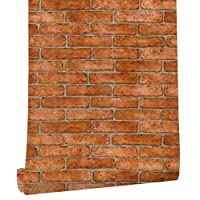 HAOKHOME Brick Wallpaper Roll Orange Grey Self Adhesive Kitchen Living Room Decor 62033