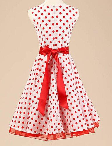 PU&PU Robe Aux femmes Trapèze Vintage / Soirée , Points Polka Bateau Au dessus du genou Coton / Polyester / Spandex red-m