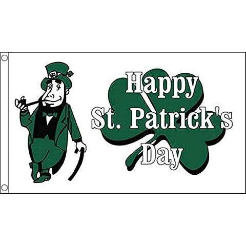 152,4 cm x cm 91,44 (150 x 90 cm) del día de San Patricio de Irlanda Happy Leprechaun irlandés blanco 100% banderines Material poliéster Ideal para la cerveza Guinness Festival Business School Club decorativa