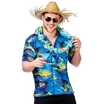 Hawaiian shirt blue palm trees adult accessory man s for Hawaiian shirt fancy dress