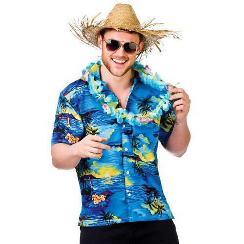 Hawaii Shirt - Blue Palm Trees (XL) Fancy Dress Stag (Ideen Dress Blue Fancy)