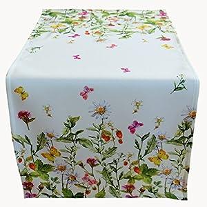 Tischdecke 85×85 cm SOMMER Pflegeleicht Weiß Sommerwiese Erdbeeren Bunt Gartendecke